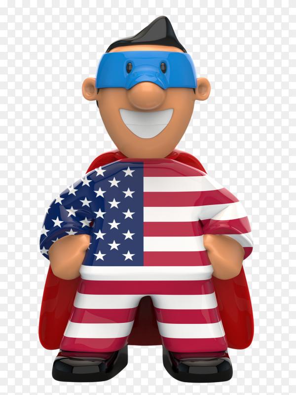 USA flag shaped on super hero on transparent background PNG