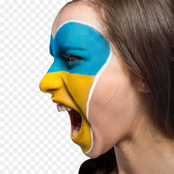 Ukraine flag painted on female face on transparent PNG