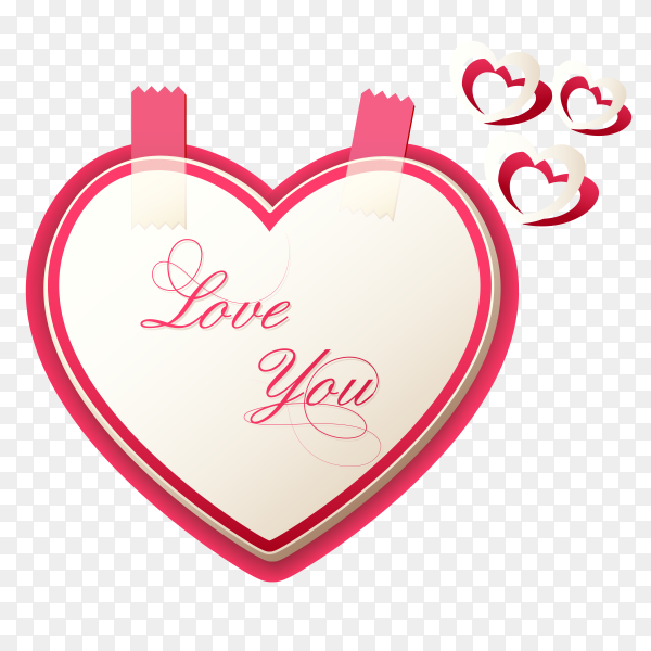Valentine day heart card Premium vector PNG