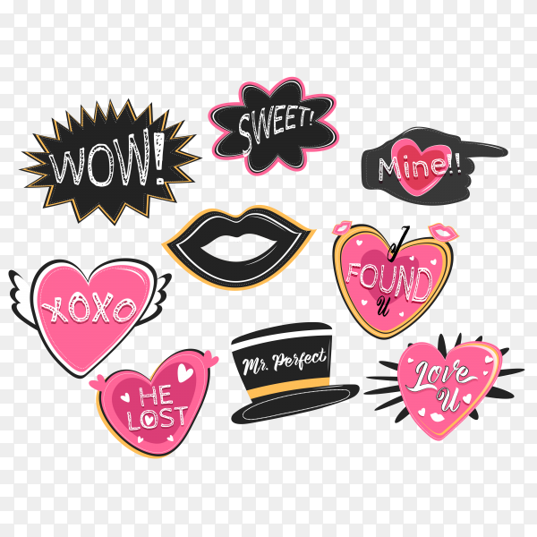 Valentine lettering love collection vector PNG