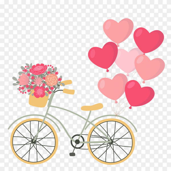 Valentines day bicycle with heart shaped balloons and flowers Clipart PNG
