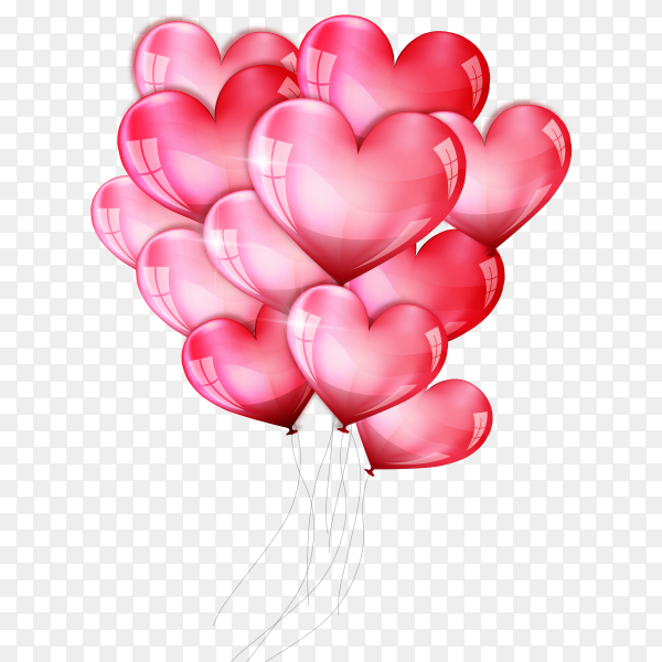 Valentines day with heart balloons Clipart PNG