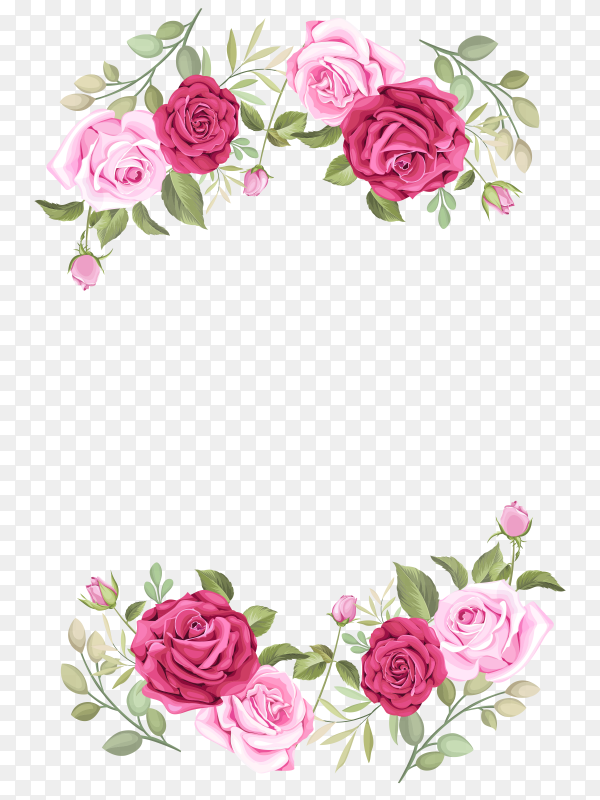 Wedding card template with beautiful roses on transparent PNG