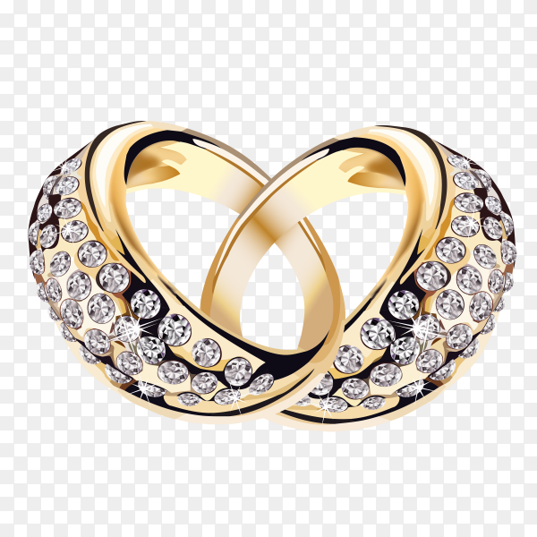 Wedding rings on transparent background PNG