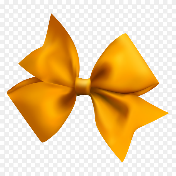 Yellow bow on transparent background PNG