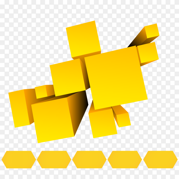 Yellow cubes design on transparent background PNG
