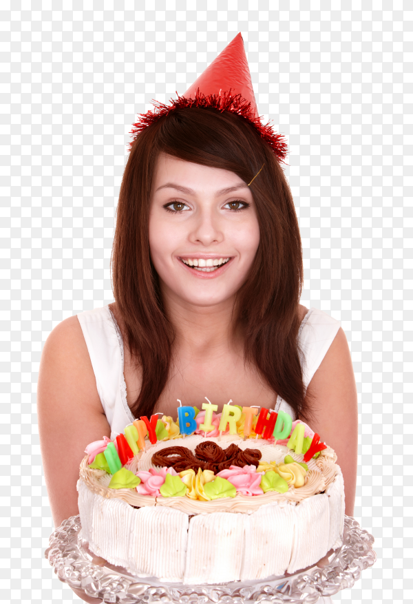 Young woman with cake on transparent PNG