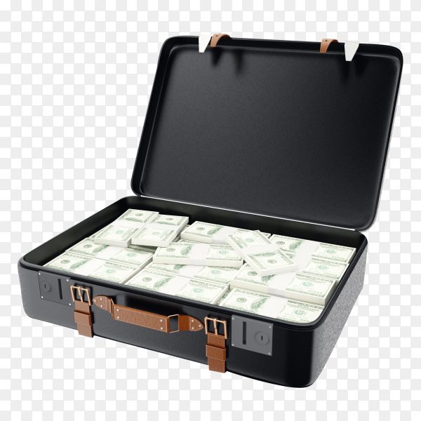 3D Illustration Suitcase Full Money Isolated on transparent background PNGhygt