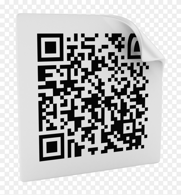 3D QR Code Digital Abstract Black and White  on transparent background PNG