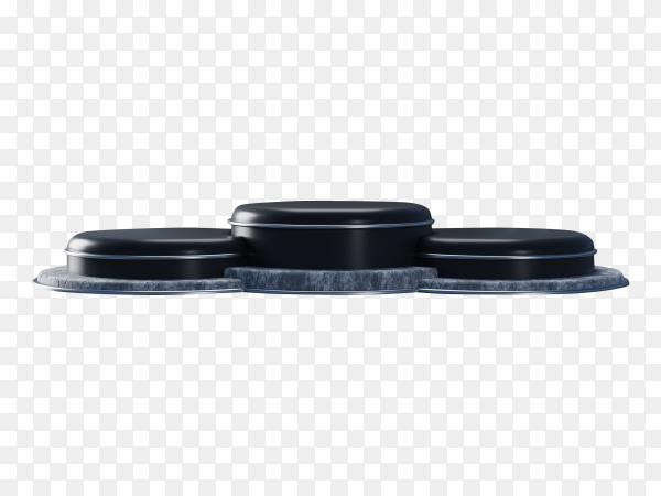 3D black podium with curved wall on transparent background PNG