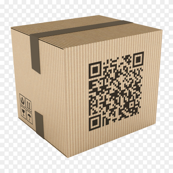 3D cardboard box with qr code on transparent background PNG