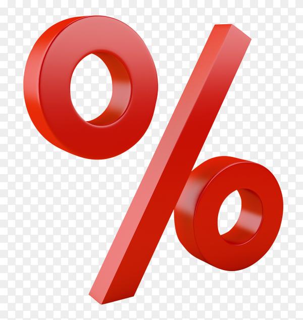 3D discount symbol on transparent background PNG