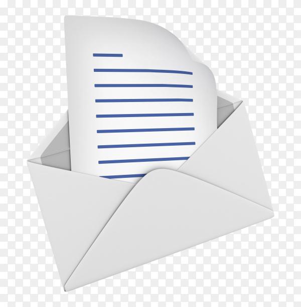 3D envelope illustration on transparent background PNG