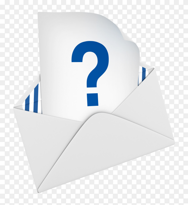 3D envelope with question mark on transparent background PNG