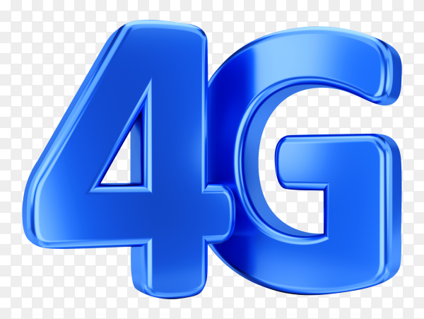 3D illustration 4G icon on transparent background PNG