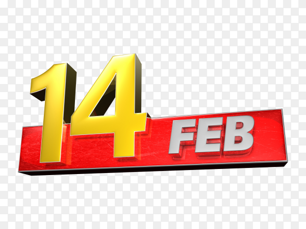3D illustration february 14th isolated on transparent background PNG