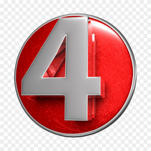 3D illustration numbers four stainless isolated on transparent background PNG