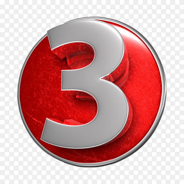 3D illustration numbers three stainless isolated on transparent background PNG