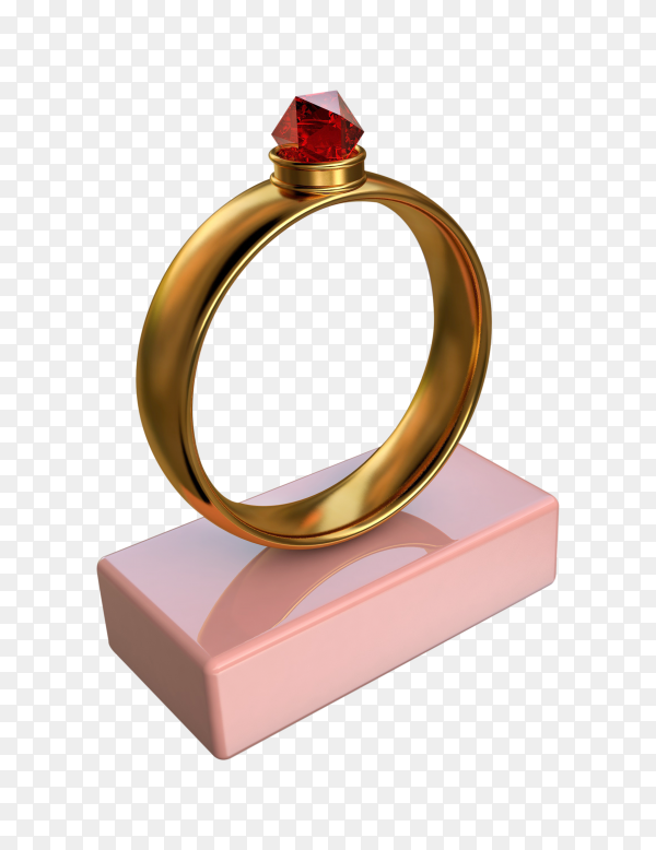 3D illustration of a gold ring with a big red diamond on pink stand on transparent background PNG