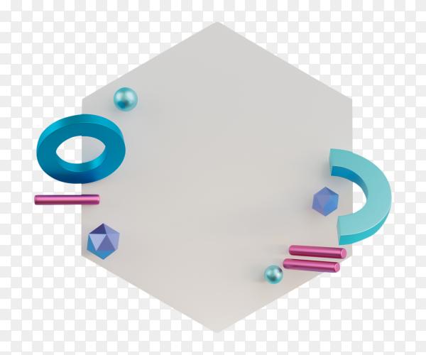 3D illustration the geometric shapes on transparent background PNG