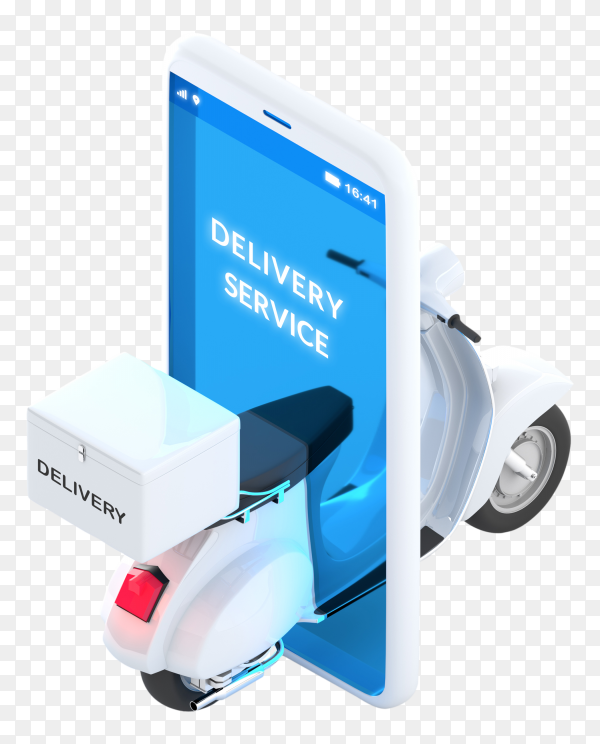 3D online delivery service concept white scooter isolated on transparent PNG