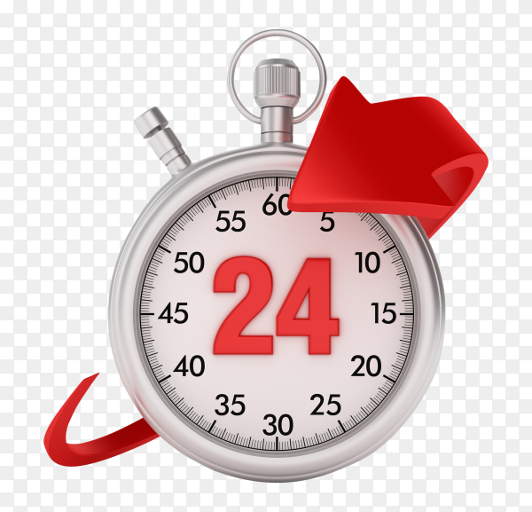 3D stopwatch with arrow number 24 on transparent background PNG
