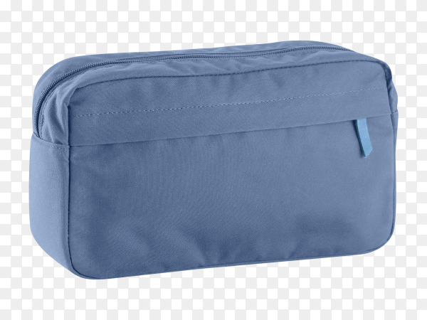 A cute blue cosmetic bag on transparent PNG
