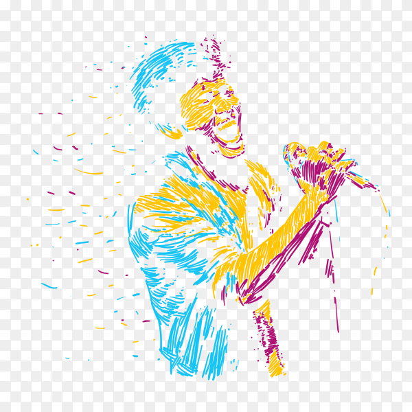 Abstract singger man character illustration music  poster on transparent background PNG