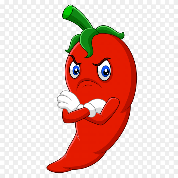 Angry chili pepper cartoon on transparent background PNG