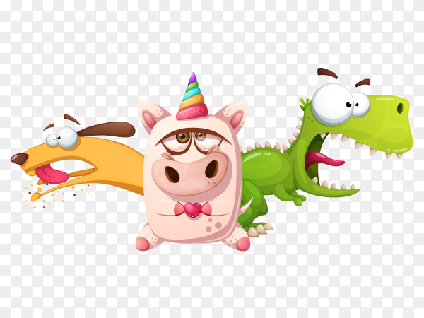 Animal cartoon characters on transparent background PNG