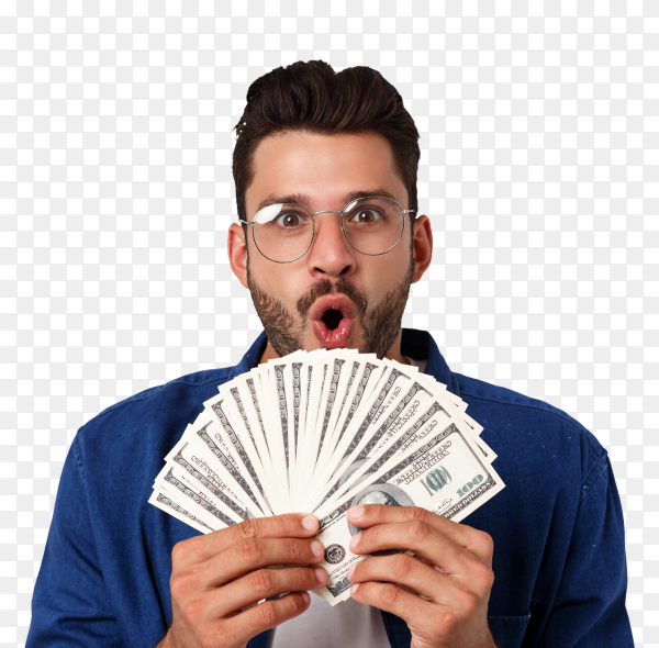 Attractive man is holding cash money one hand isolated on transparent background PNG