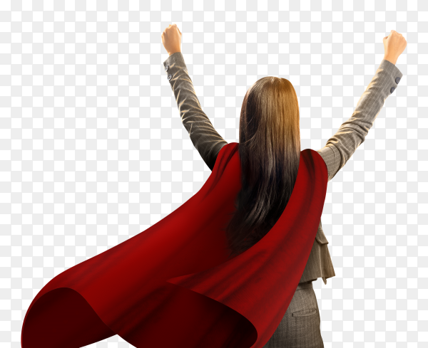 Back view asian super business woman with cloak feel happy on transparent background PNG