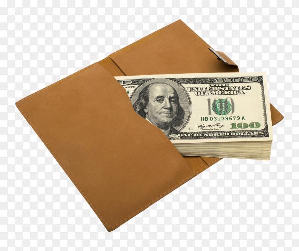 Banknotes dollars in leather brown pocket on transparent background PNG