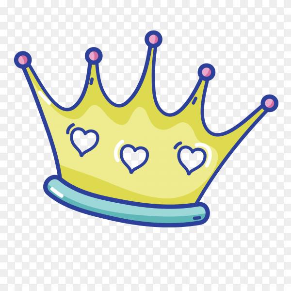 Beautiful golden crown Cartoon vector PNG