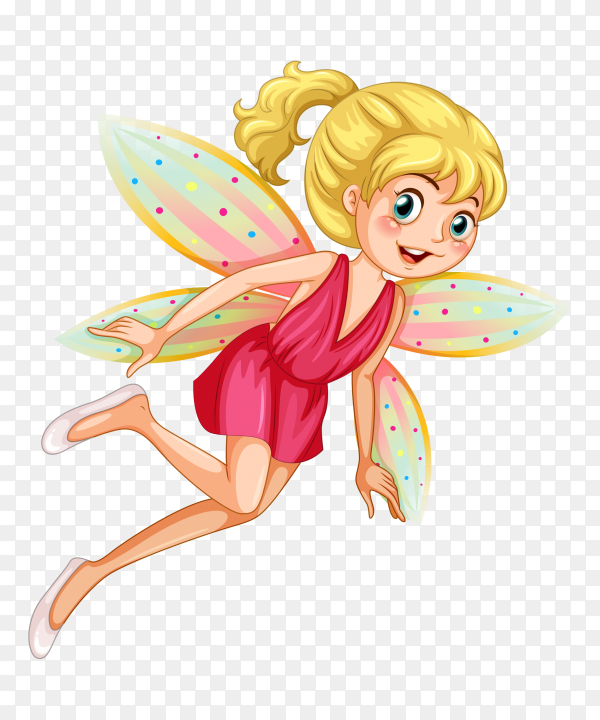 Beautiful little nature fairy cartoon on transparent PNG