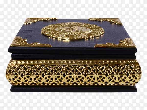 Black and gold quran box isolated on transparent background PNG