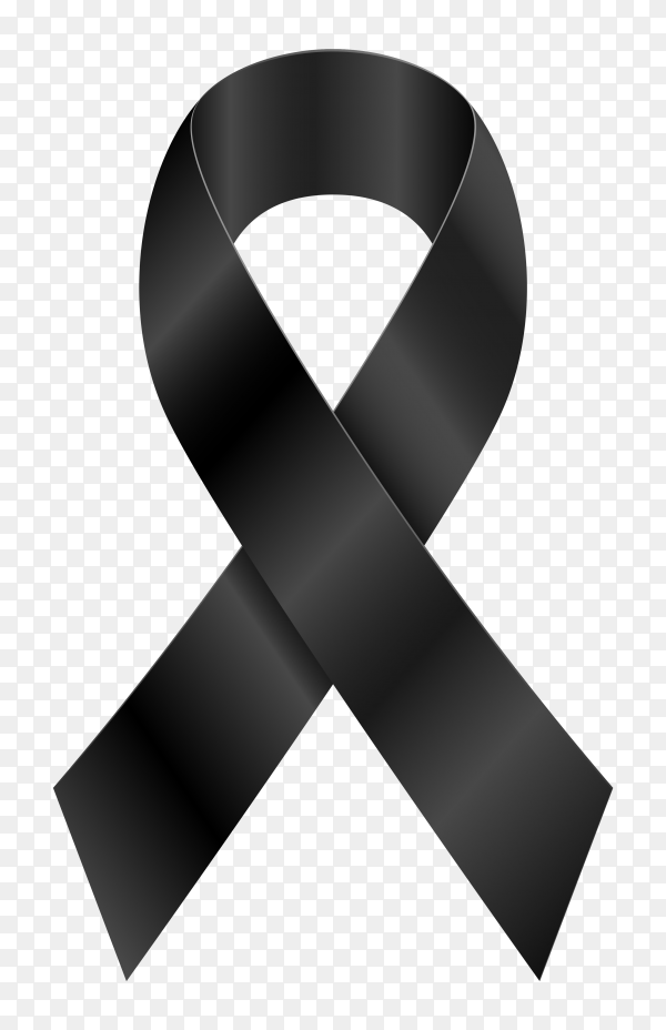 Black awareness ribbon on transparent PNG