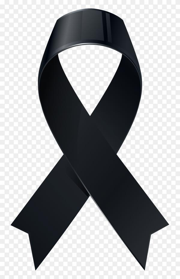 Black awareness ribbon on transparent background PNG