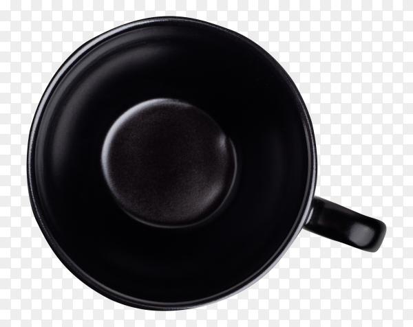 Black ceramic mug on transparent background PNG