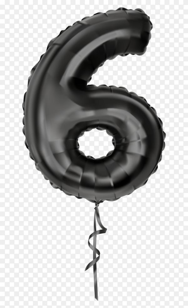 Black foil balloon number Six on transparent background PNG