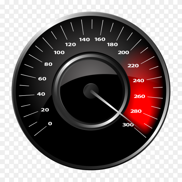 Black speedometer on transparent background PNG