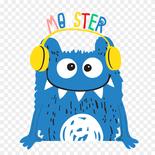 Blue monster Listen music on headphone Premium vector PNG