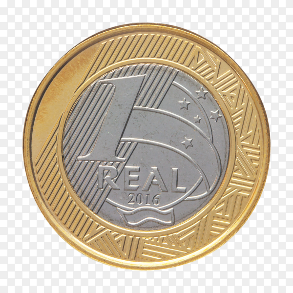 Brazilian one real coin on transparent background PNG