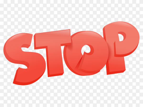 Bueatufil red stop lettering on transparent background PNG