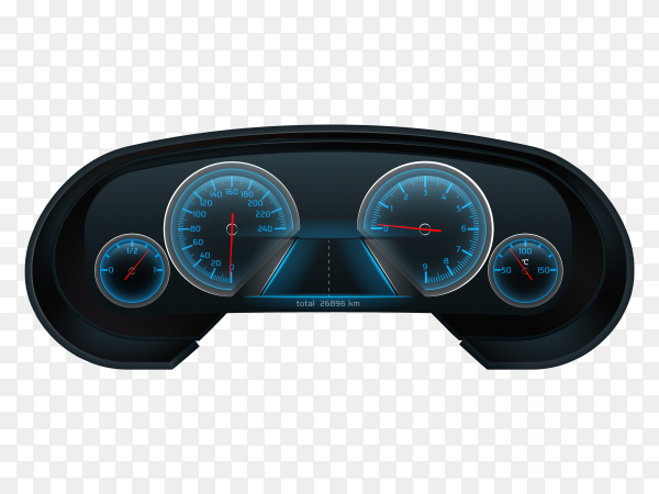 Car digital dashboard screen with glowing blue speedometer Clipart PNG