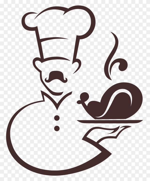 Cartoon chef serving food on transparent background PNG