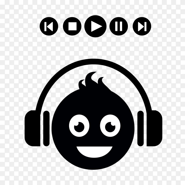 Cartoon face Listening music on transparent background PNG