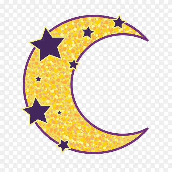 Cartoon moon with stars vector PNG