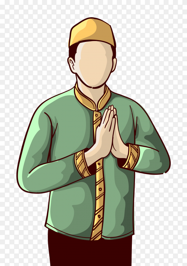 Cartoon muslim man praying to god Clipart PNG - Similar PNG