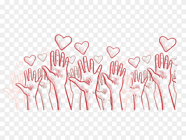 Charity background with hands hearts Clipart PNG
